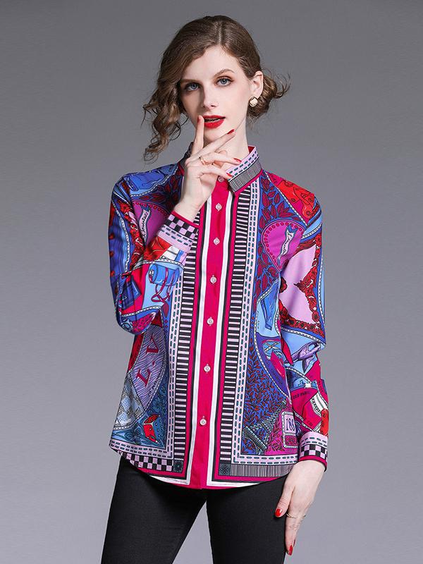 Print Turndown Collar Long Sleeve Blouse