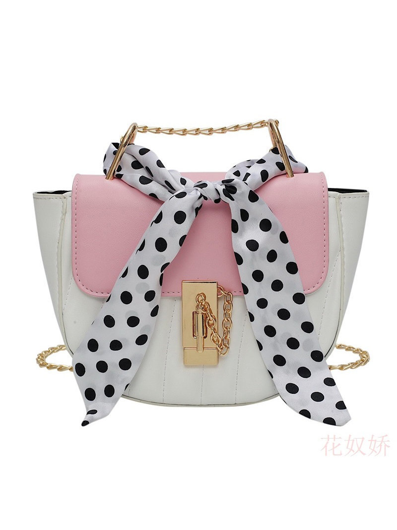 Colorblock Polka Dots Bow Decor Shoulder Bag
