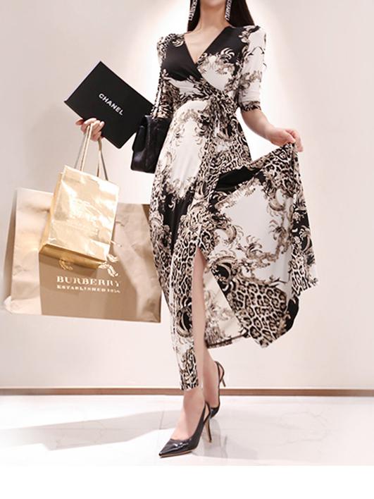 Stylish V Neck Print Fitted Maxi Dress