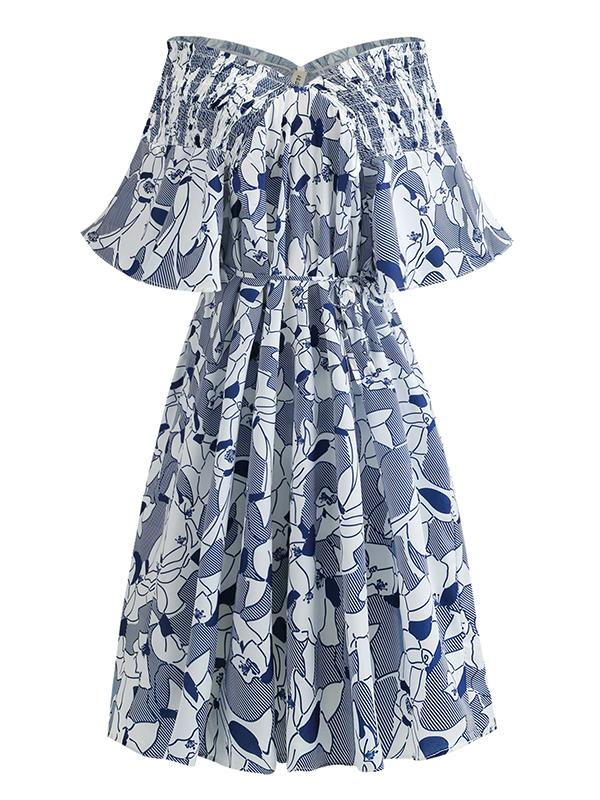 Plus Size Boat Neck Off The Shoulder Print Dress
