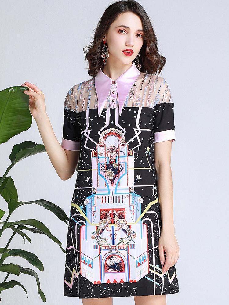 Boutique Sweet Turndown Collar Studded Short Sleeve Dress