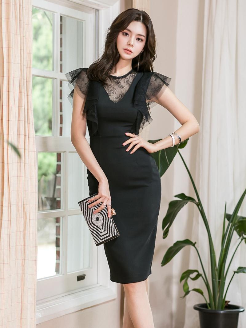 Lace Sheer Stitching Slim Ruffles Sleeve Dress