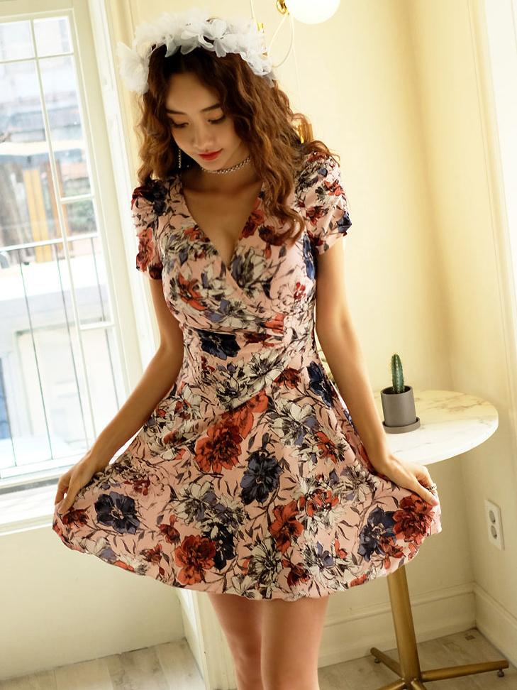 Summer Deep V Neck A-Line Flower Dress