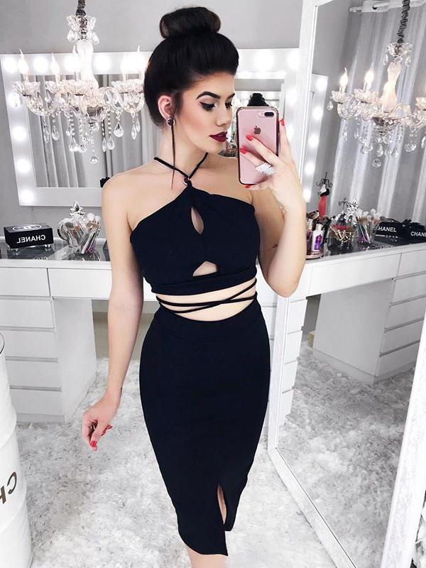 Sexy Midriff-Baring Black Halter Pencil Dress