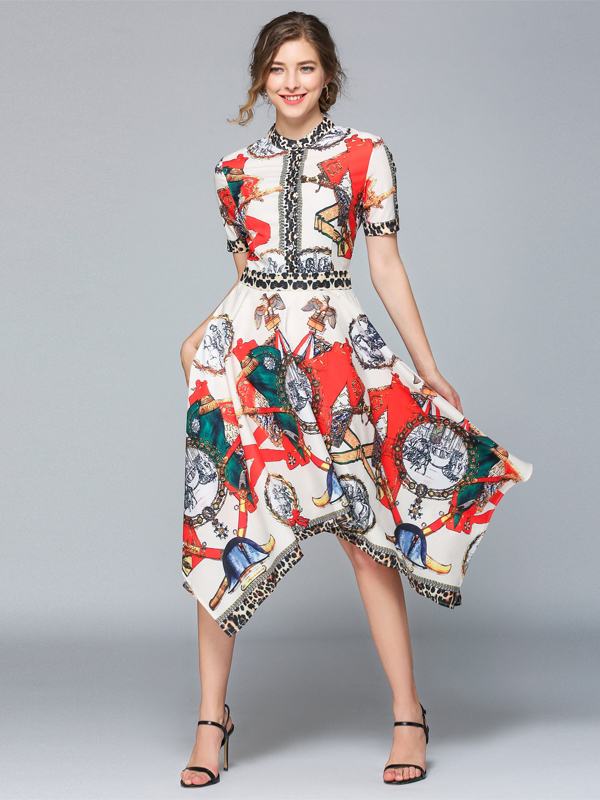 Charming Print Swallowtail Hem Short Sleeve Dress
