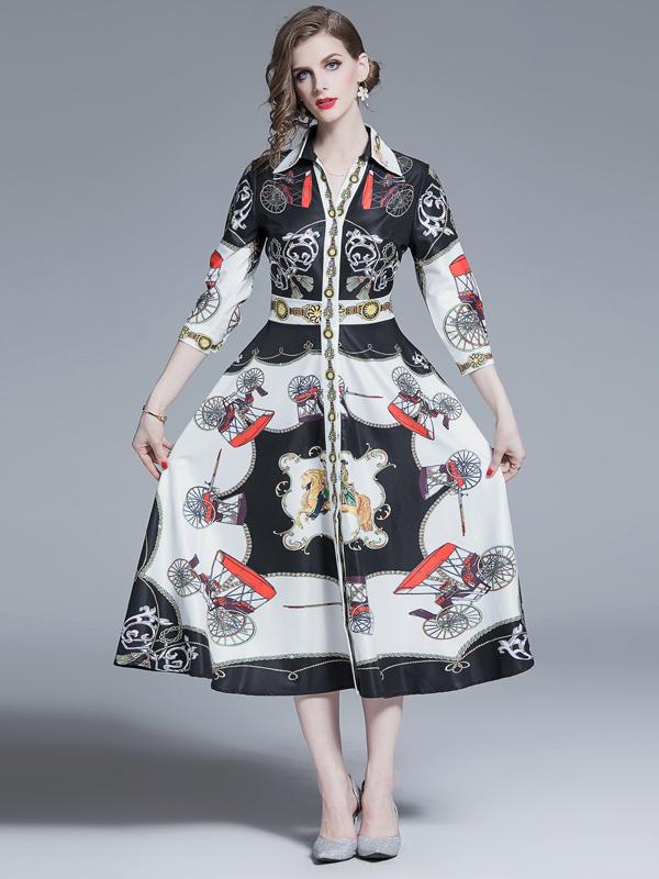 Vacation Turndown Collar Big Swing Print Maxi Dress