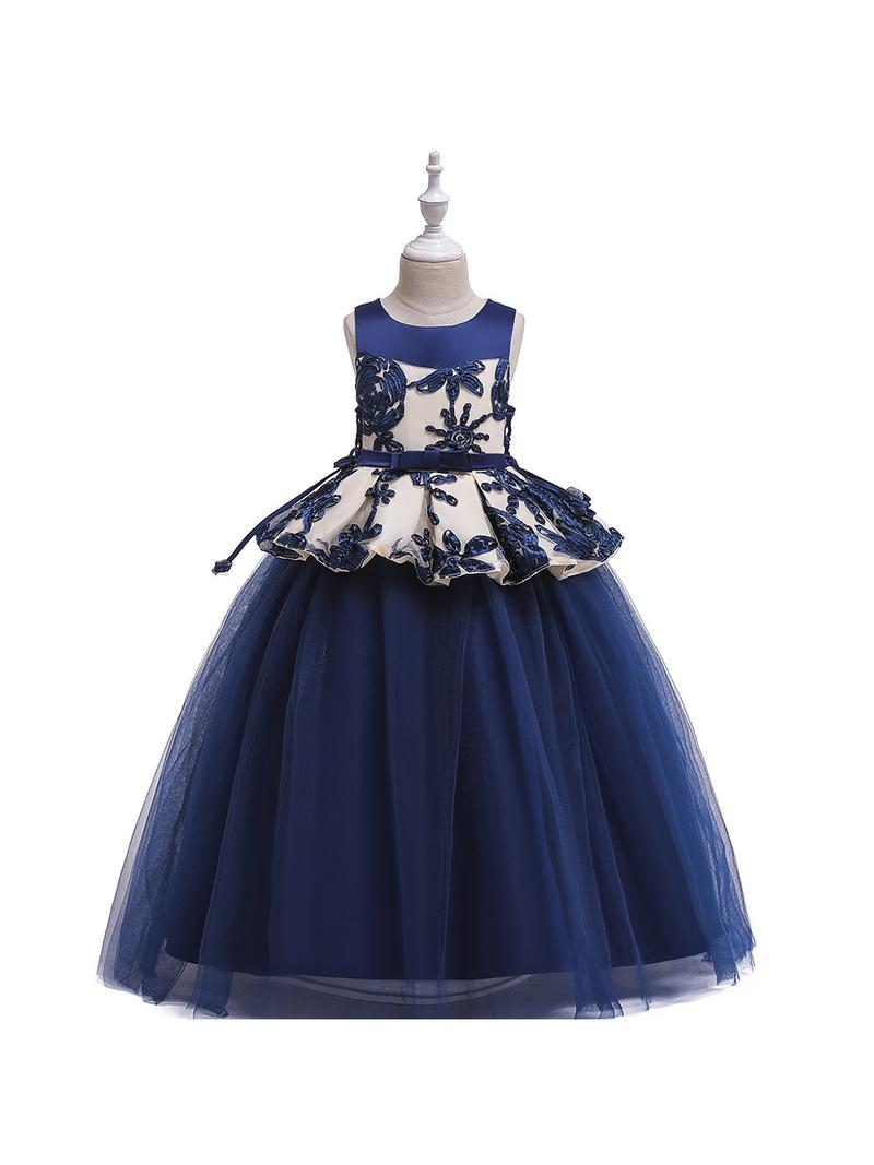 Curly Flower Sheer Patchwork Girl Floor Length Dress