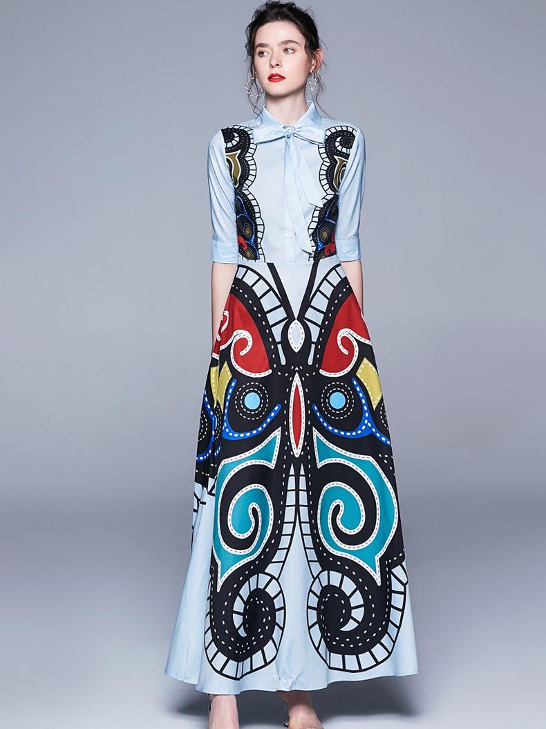 Stylish Butterfly Print Big Swing Maxi Dress