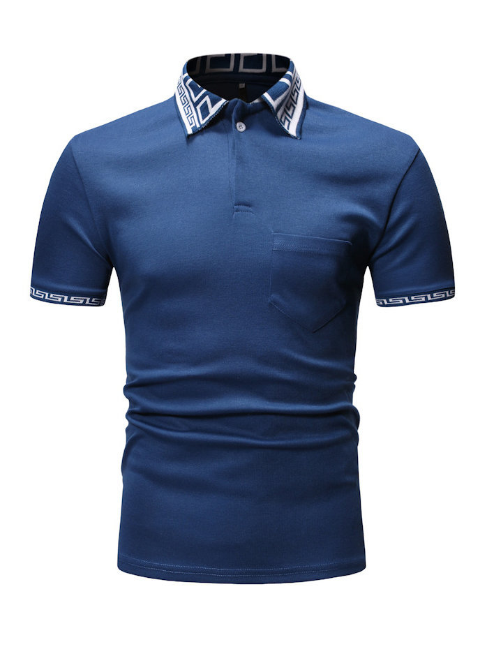 Threaded Turndown Collar Casual T-shirt