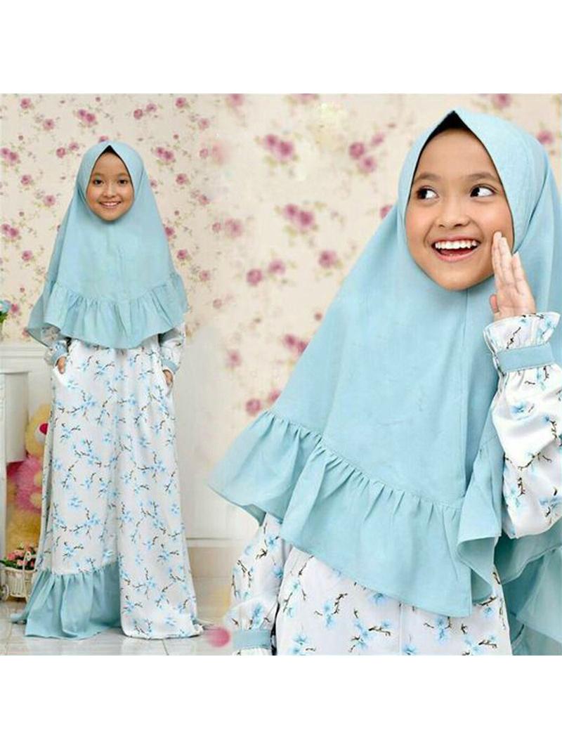 Muslim Floral Girl Maxi Dress With Ruffles Headscarf
