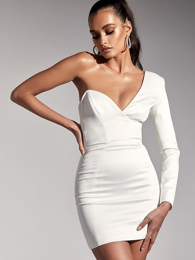 V Neck Inclined Shoulder White Fitted Dress