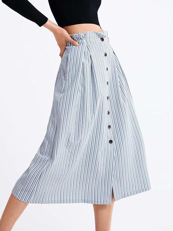 Single-Breasted Striped Midi Skirt
