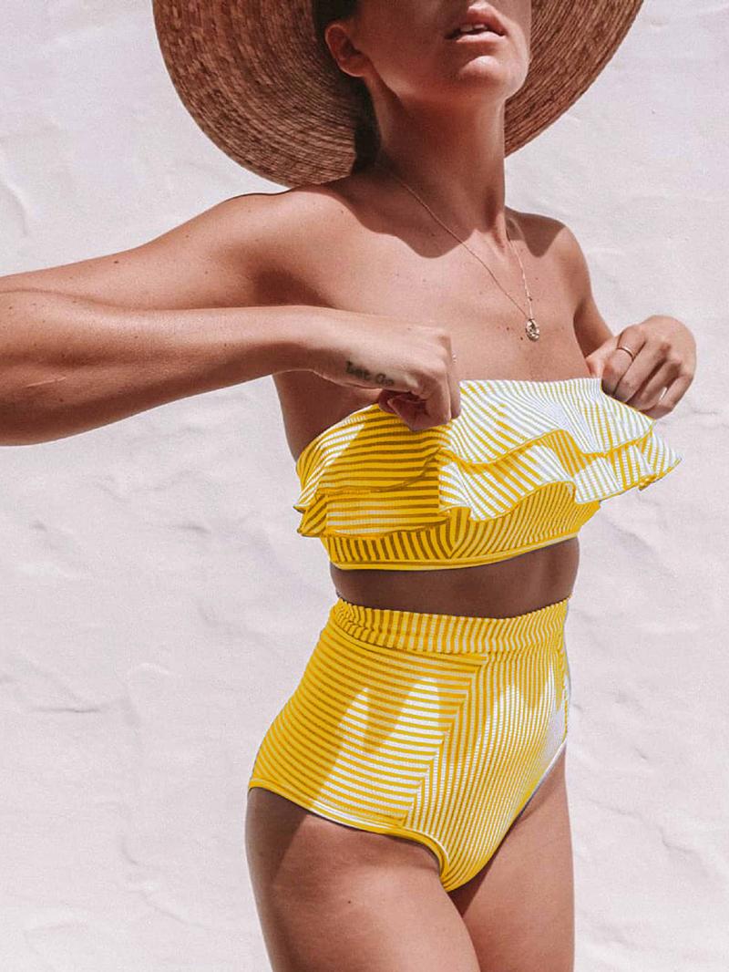 Euro Striped Ruffles Bandeau Bikini For Women