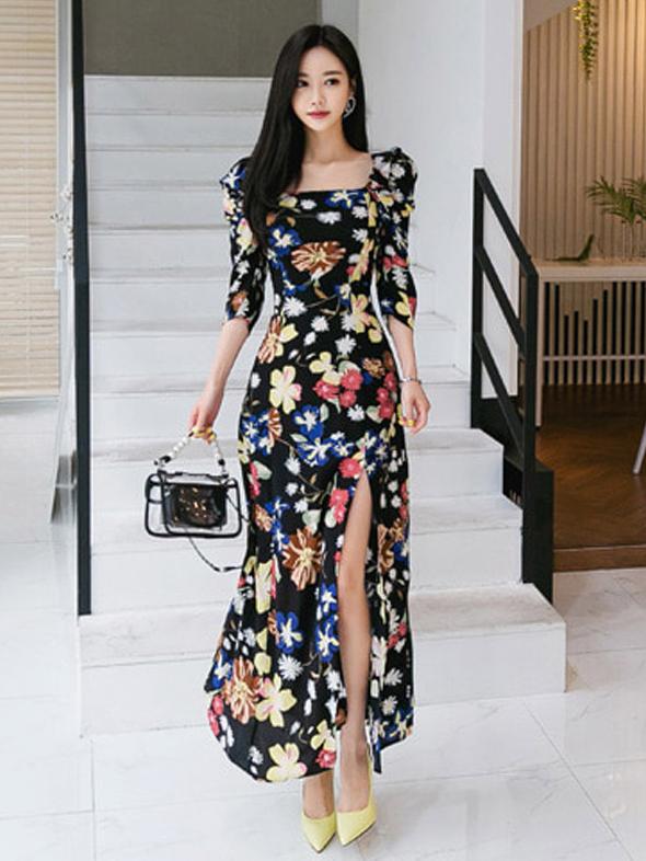 Stylish Square Neck Split Print Maxi Dress