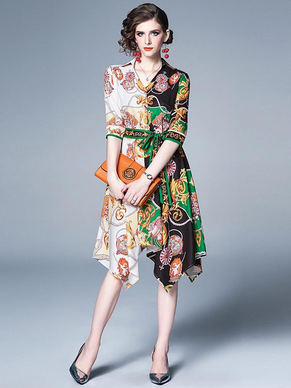 Royal Court V Neck Print Half Sleeve Dress
