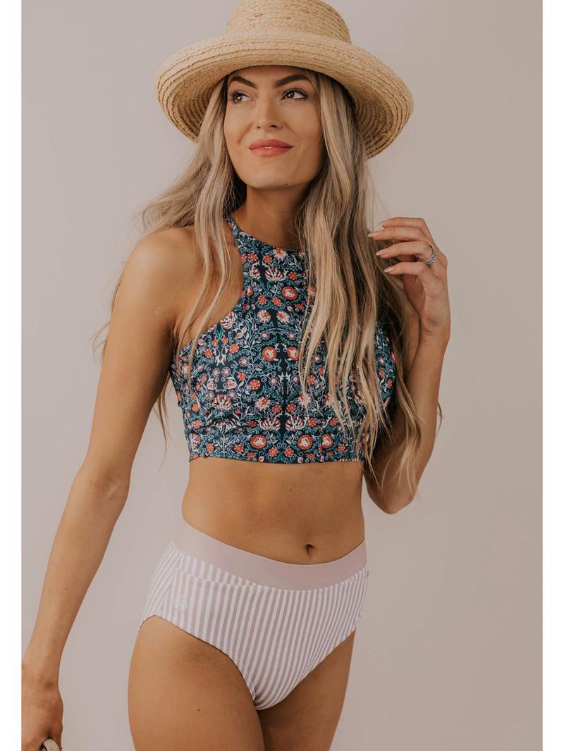 Fashion Lace Up Striped Floral Bikini Set