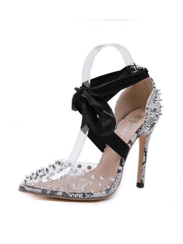 PVC Rivet Snake Printed Lace Up Heels