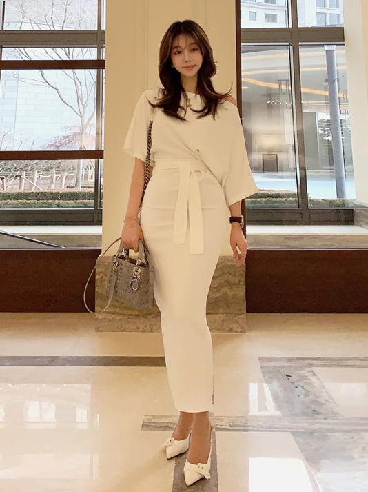 Minimalist Off Shoulder Binding Ladies Maxi Dress