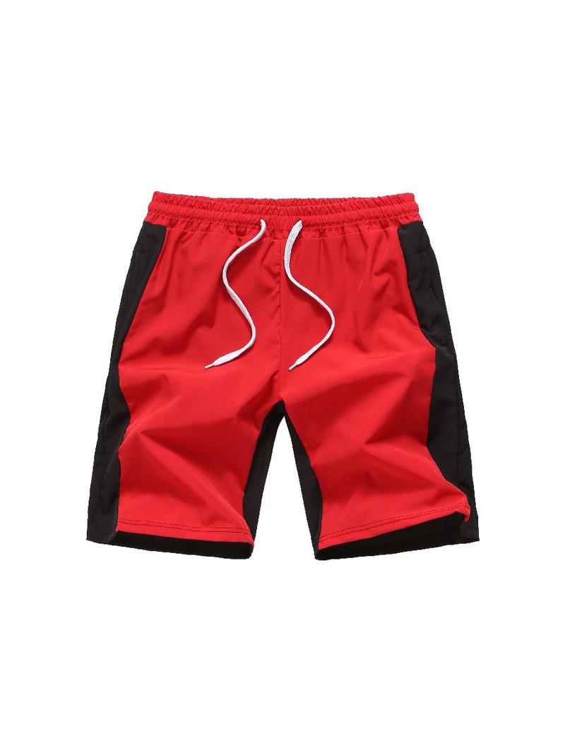 Contrast Color Drawstring Beach Short Pants