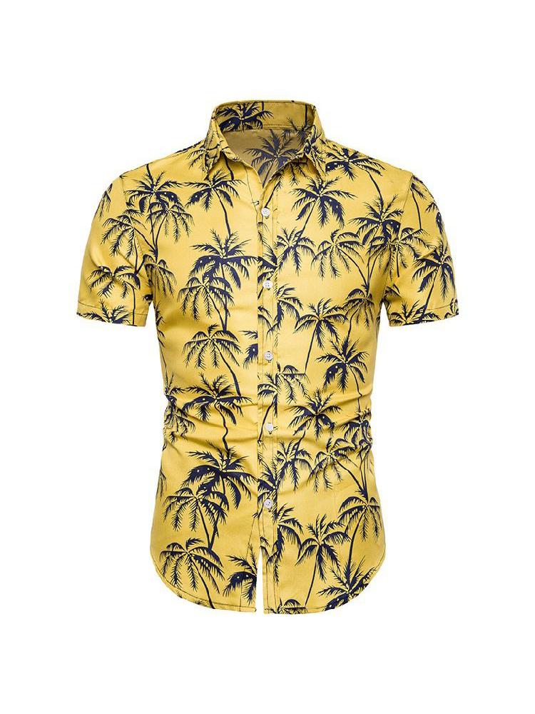 Turndown Collar Coconut Tree Printed Shirt