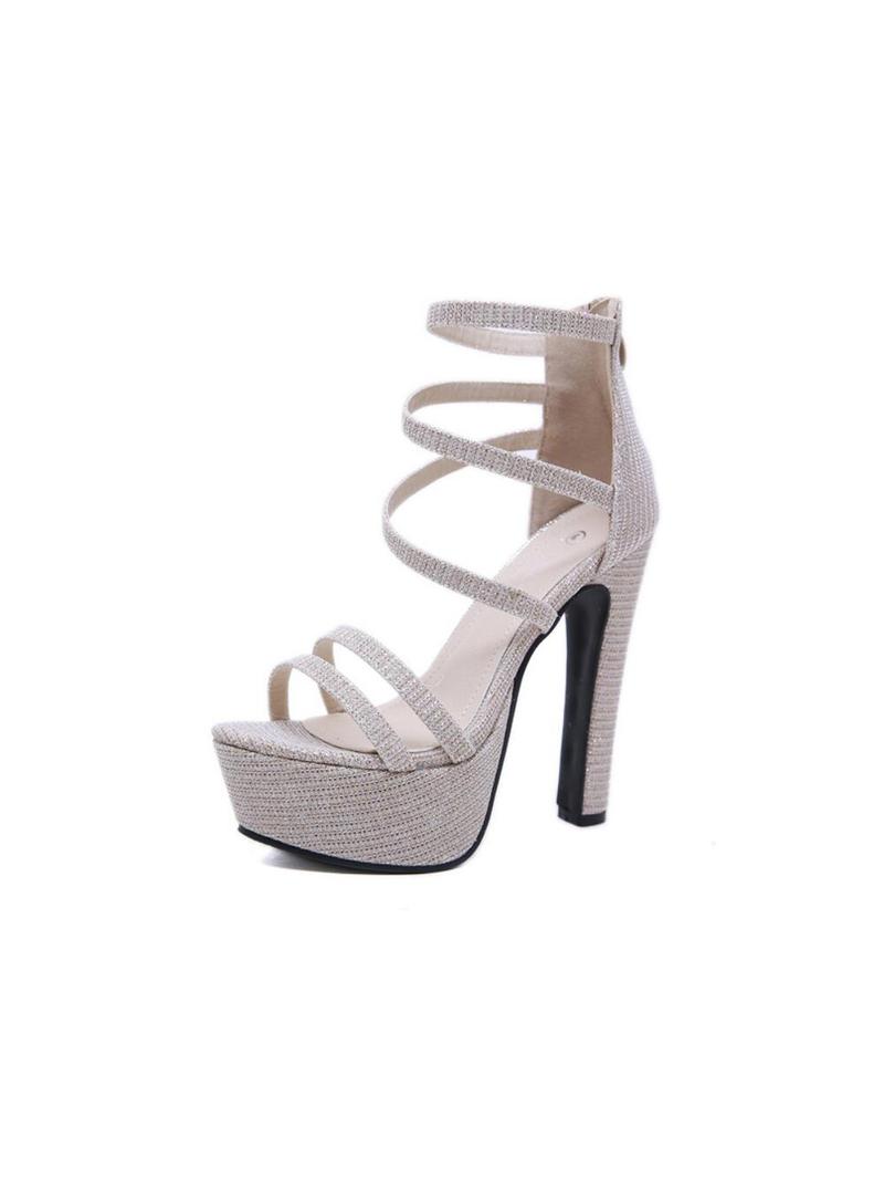 Stylish Glitter Platform High Heel Sandals