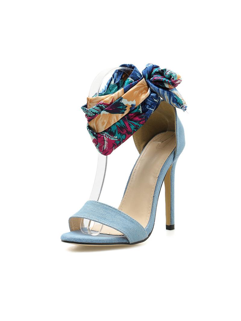 Chic Floral Strap Lace Up Sandals