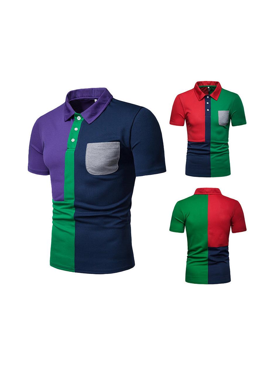 Colorblock Pocket Short Sleeve Men Polo Shirt