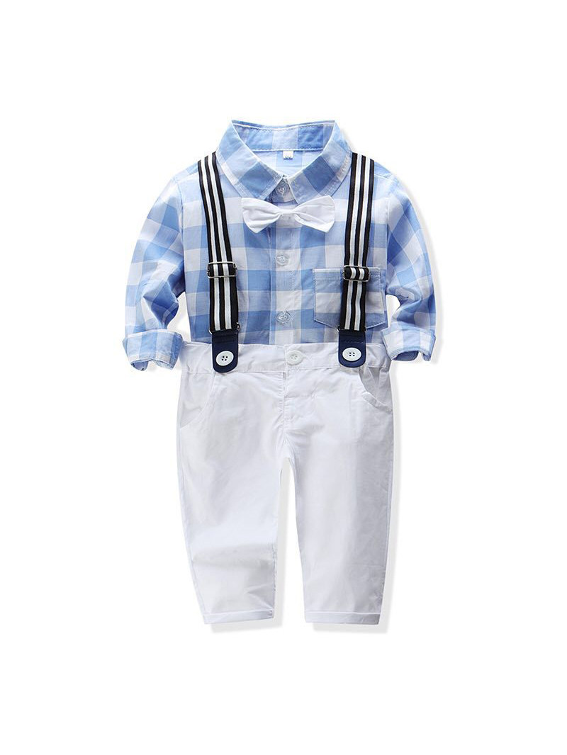 Gentle Plaid Shirt With Solid Overall