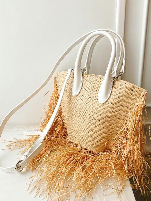 Vacation Tassels Weaving Sector Shape Shoulder Bag