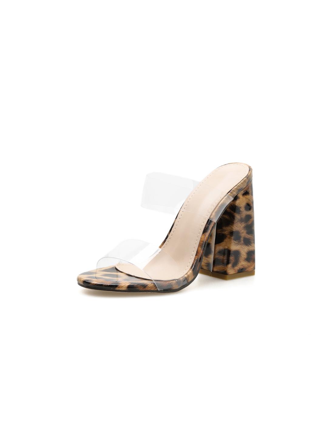 PVC Leopard Printed Chunky Heel Slippers