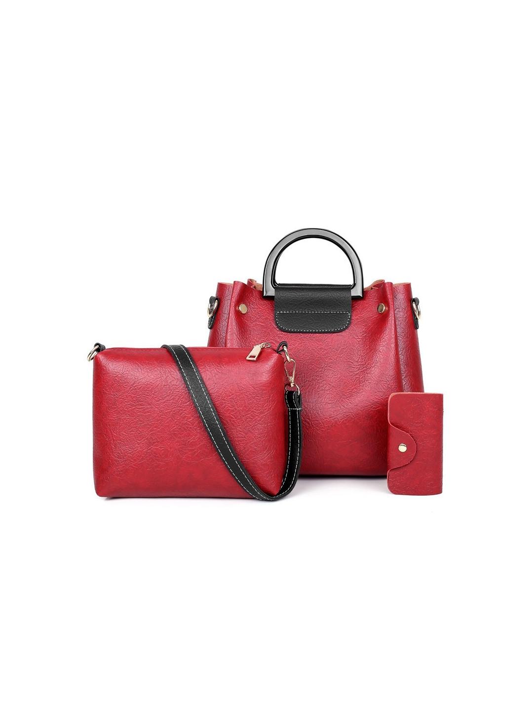 Contrast Color 3 Piece Handbag Sets For Women