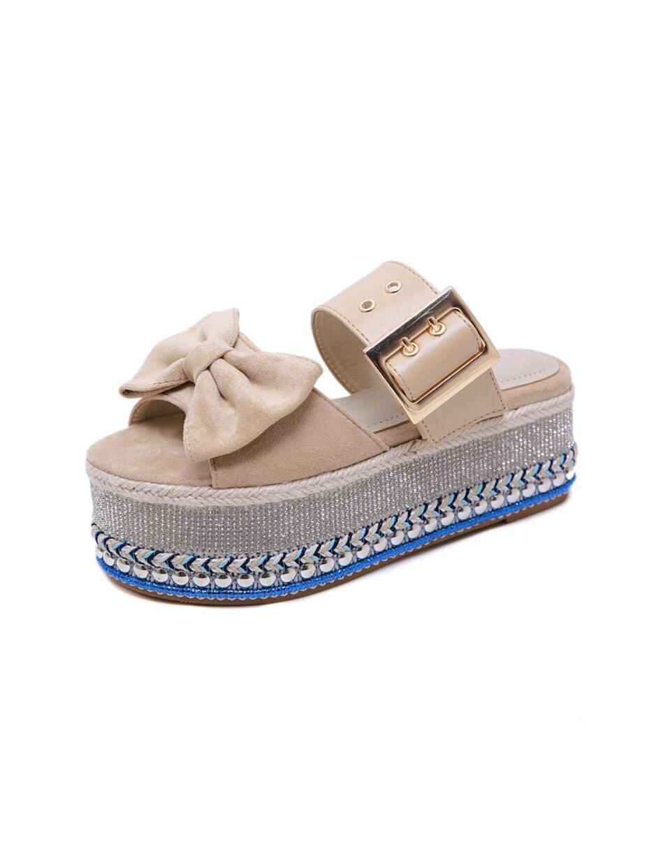 Fashion Binding Buckle Platform Slippers