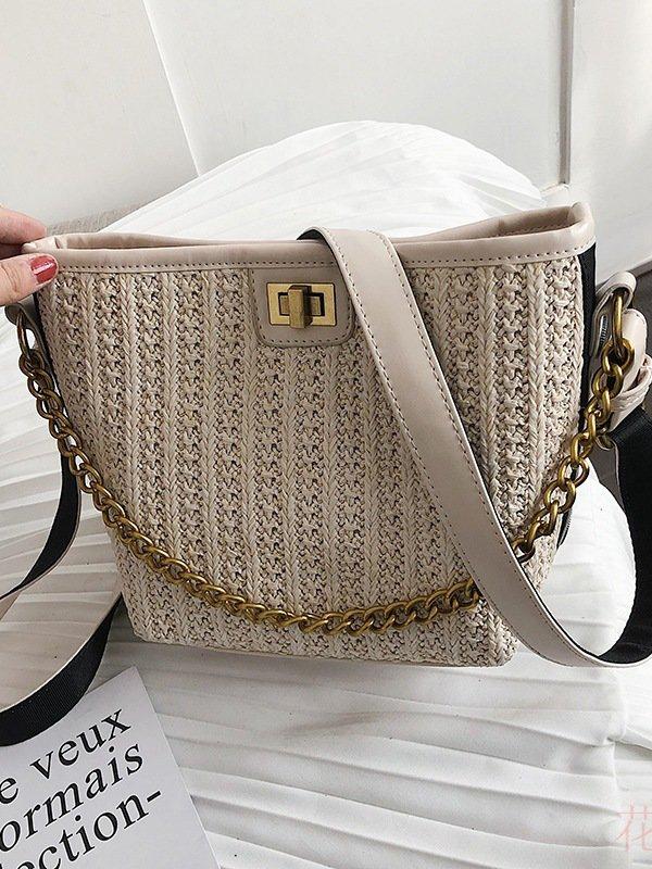 Hot Sale Solid Straw Bucket Bag