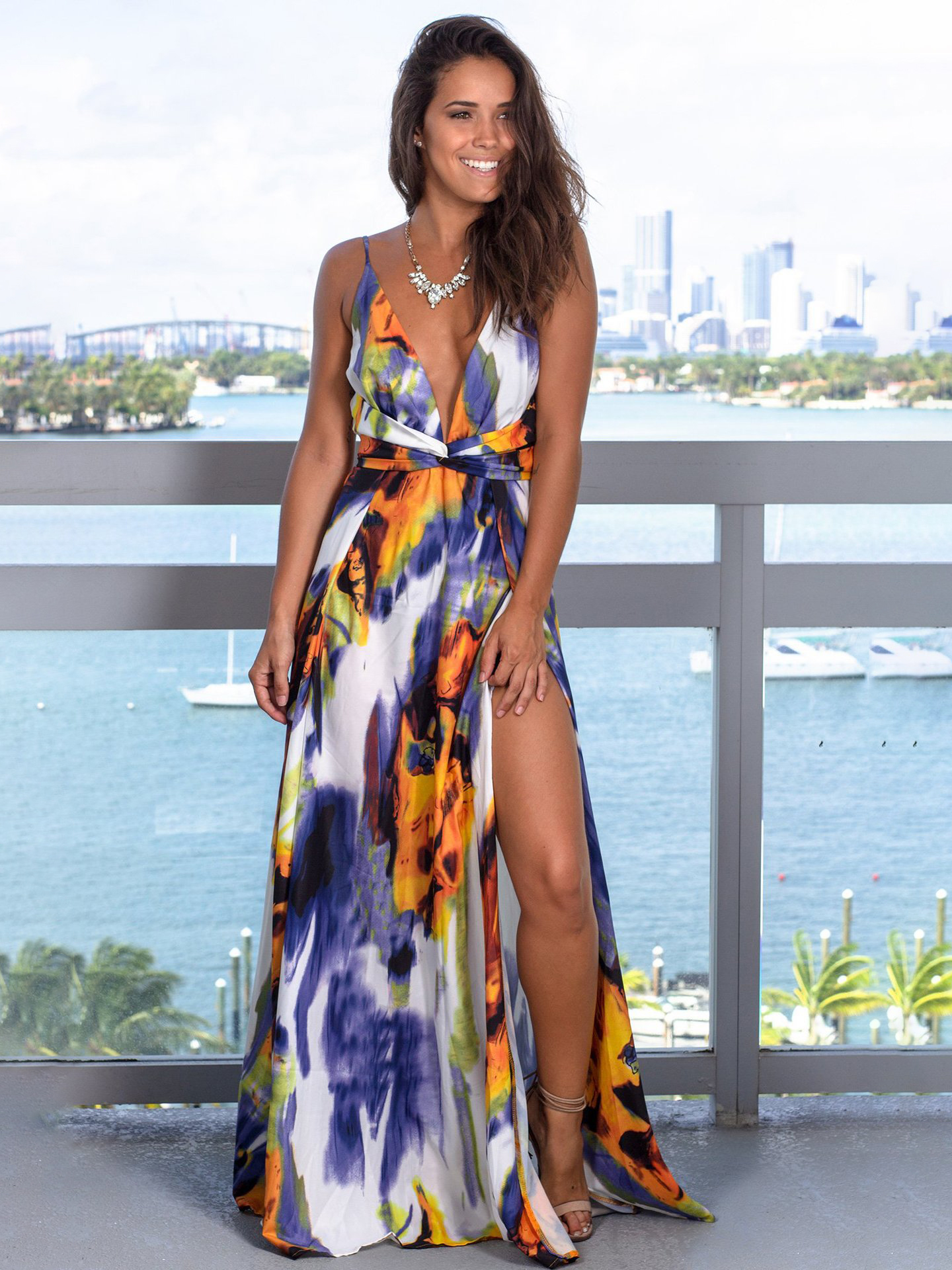 Sexy Fitted Contrast Color Straps Dress