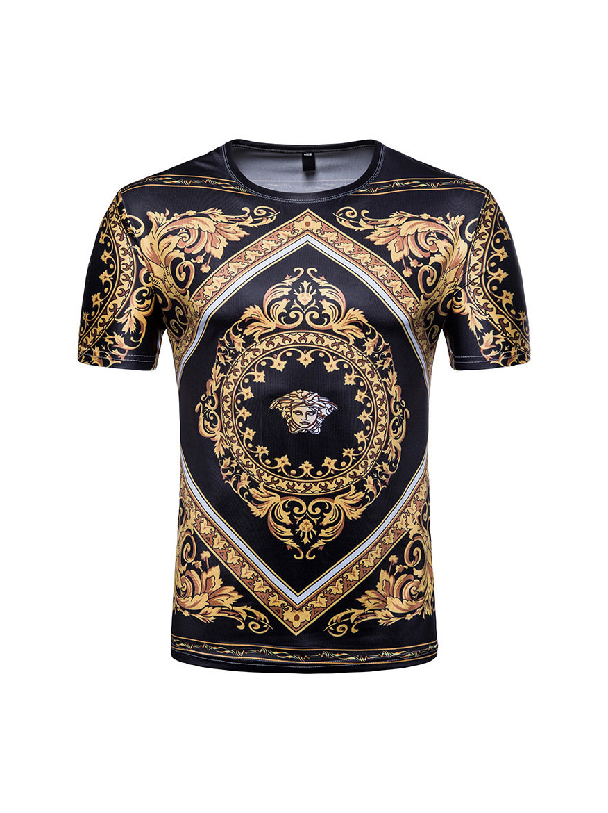 Royal Court Patchwork Printed Men Fitted Tee