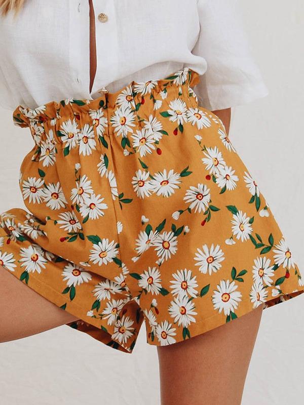 Summer Floral High Waist Chiffon Hot Pants