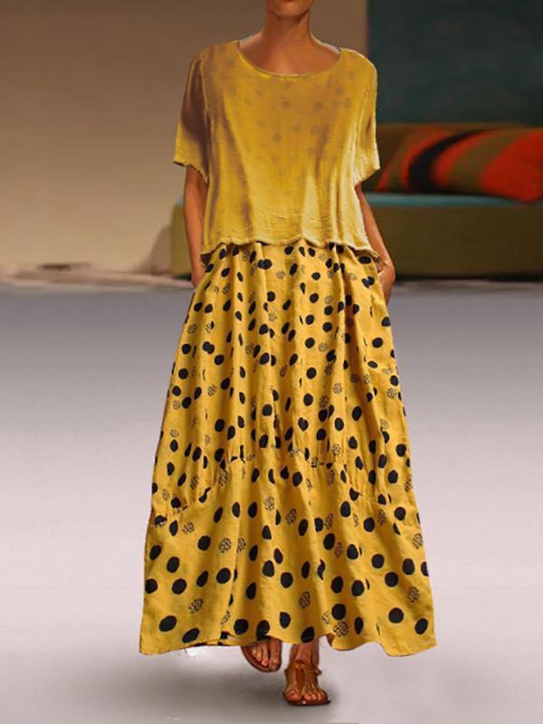 Loose Solid Tee With Polka Dots Maxi Skirt
