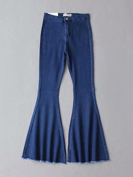 European High Waist Solid Flare Ladies Pants