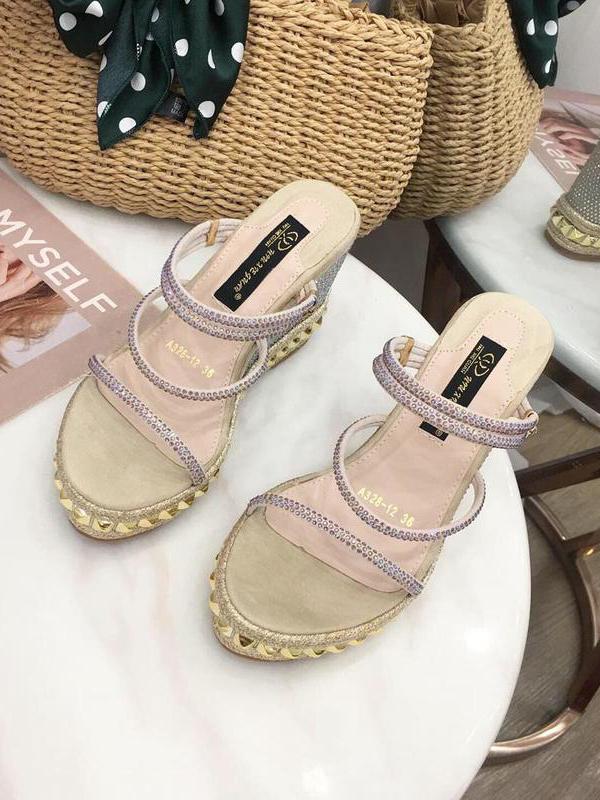 European Style Rhinestone Wedge Ladies Sandals
