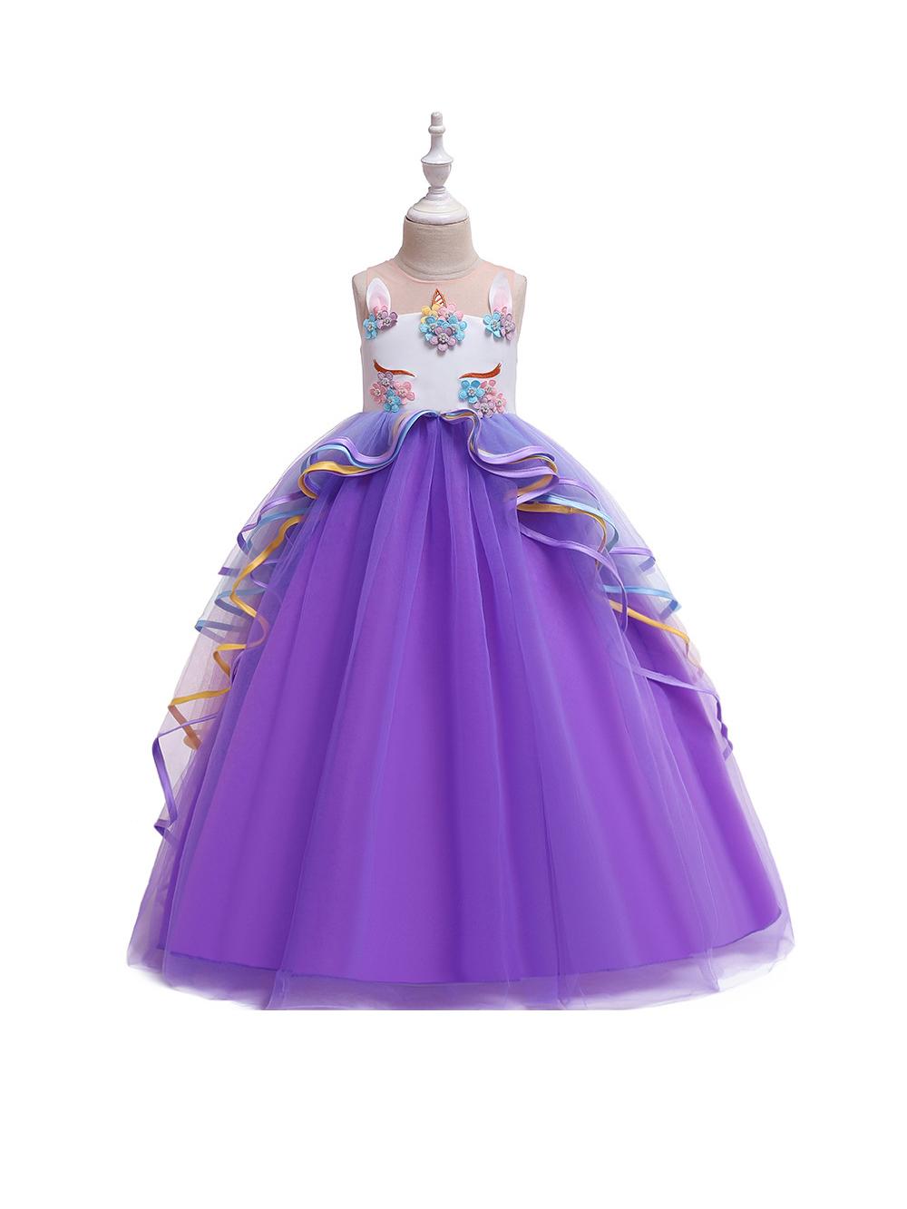 Applique Gauze Girls Princess Dress