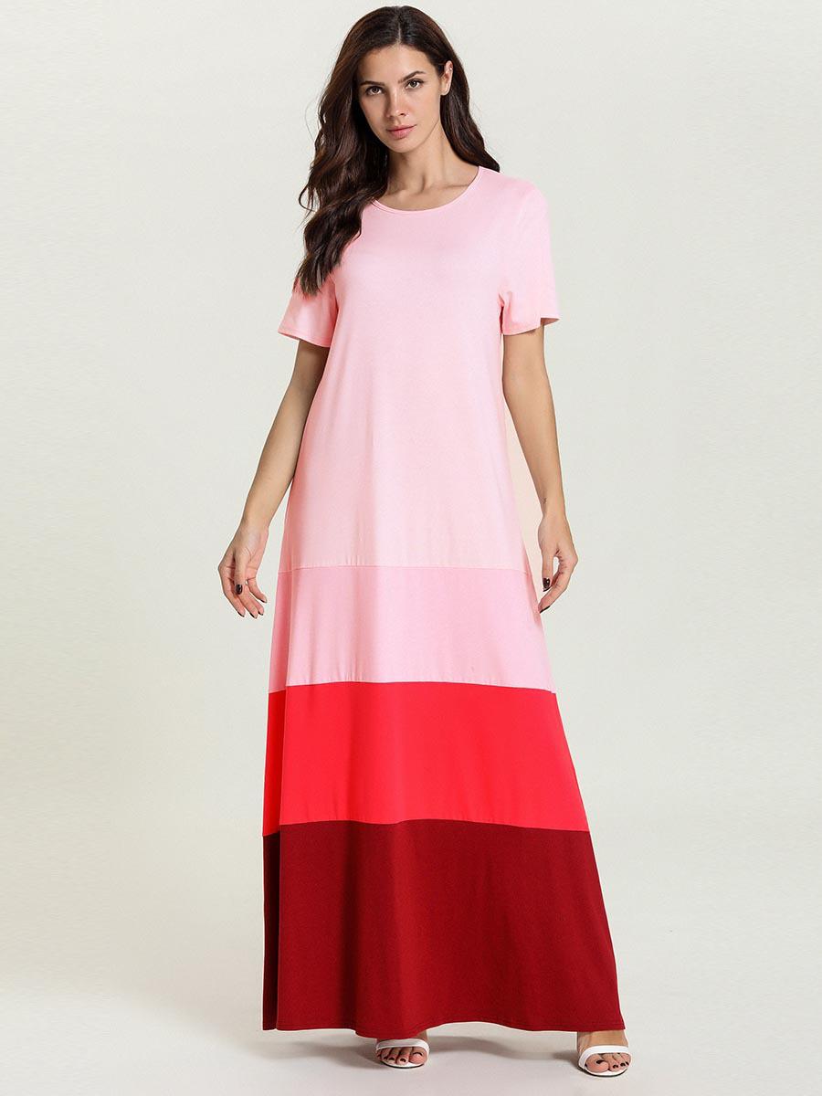 Crew Neck Contrast Color T-shirt Maxi Dress