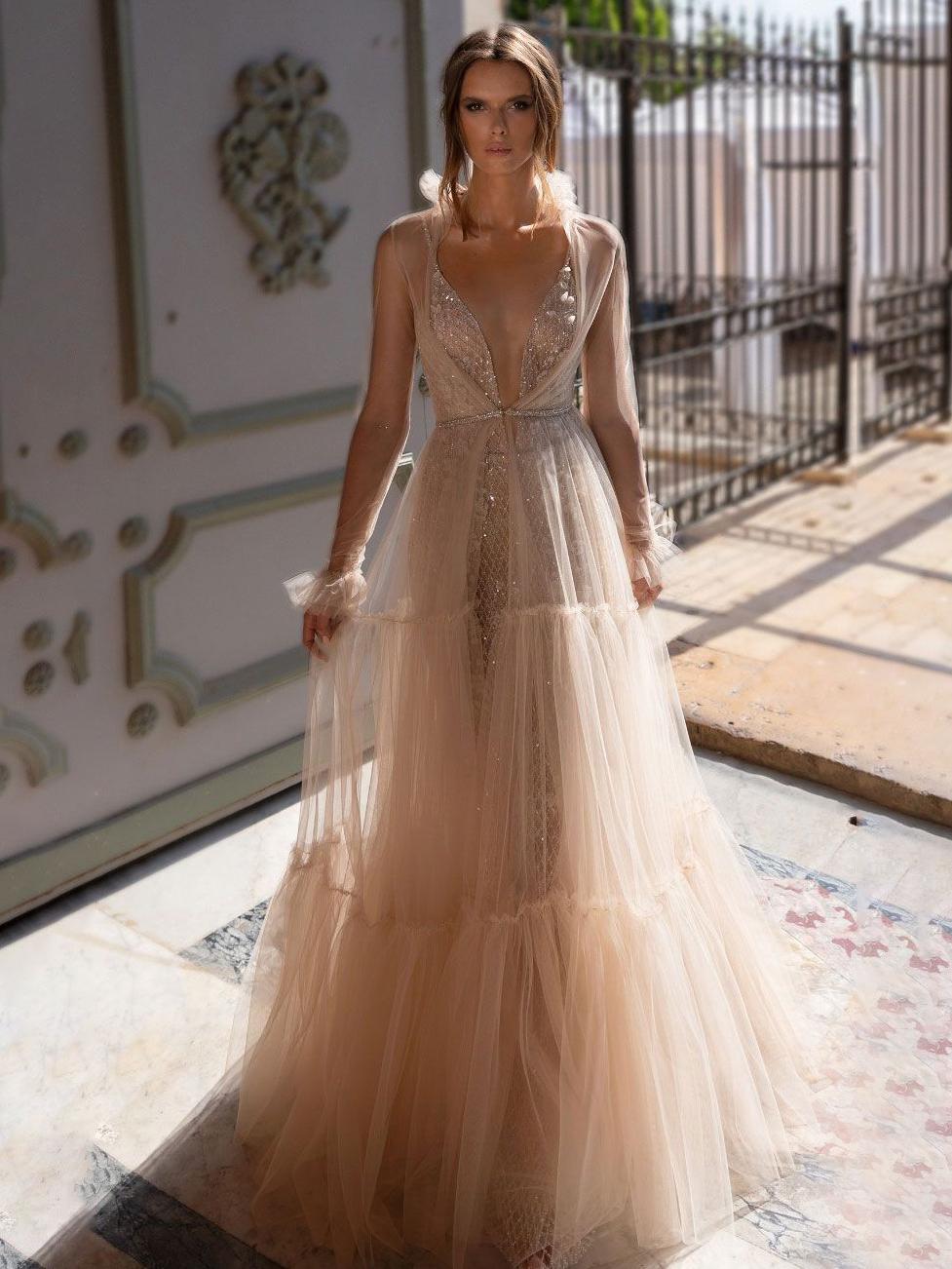 Sexy Perspective Gauze Rhinestones Evening Dresses