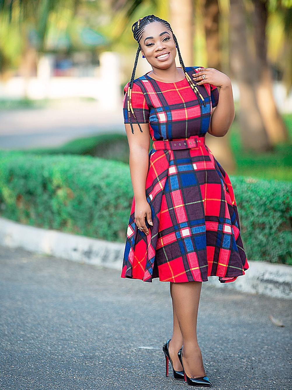Contrast Color Plaid Women Short Sleeve Dresses