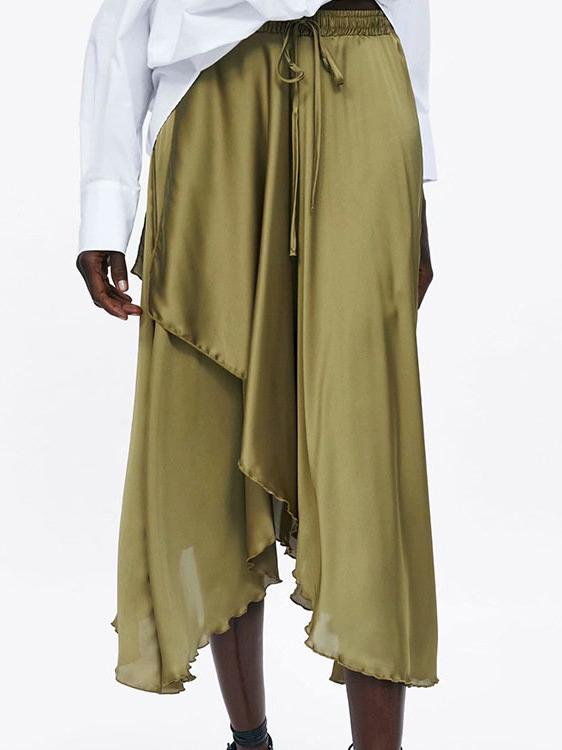 Asymmetrical Hem Green High Waisted Skirts