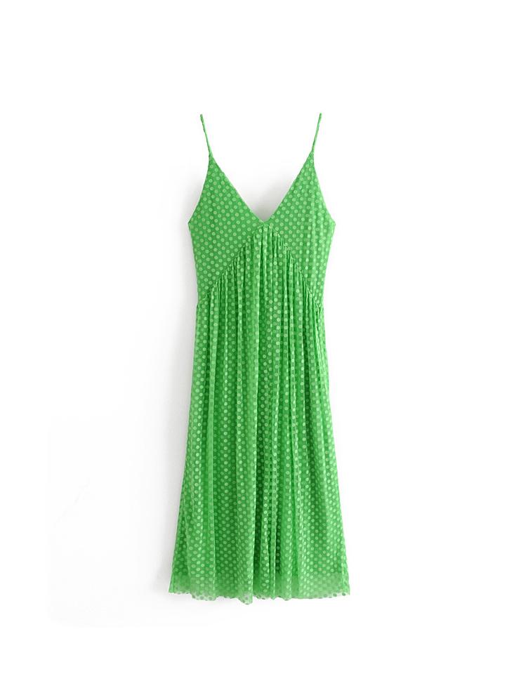 Deep V Dot Jacquard Weave Sleeveless Dress