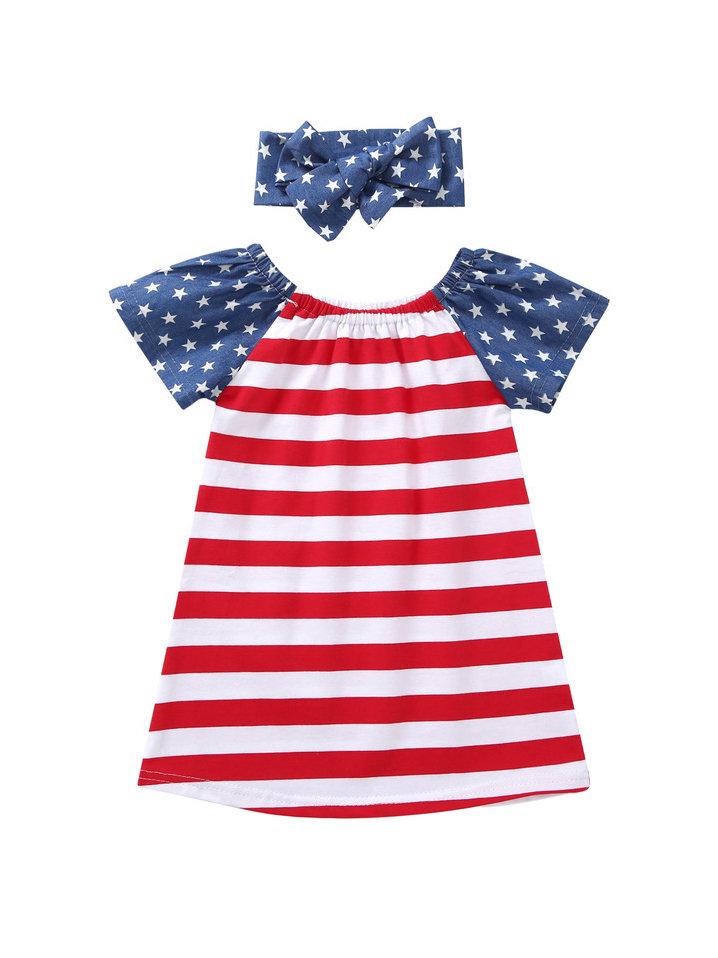 Star Striped Patchwork Girl Dress With Headband