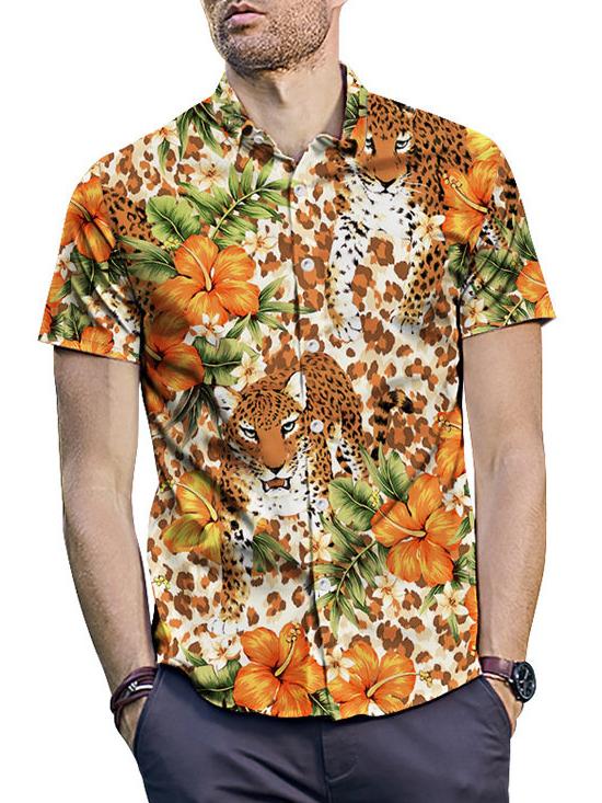 Summer Animal Printed Loose Shirt For Men