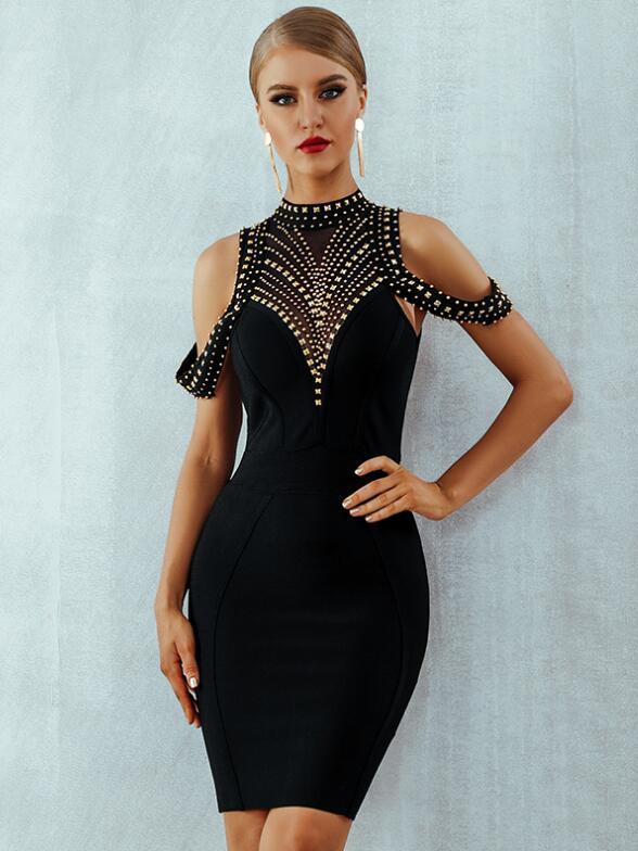 Boutique Off Shoulder Sequined Backless Evening Dress