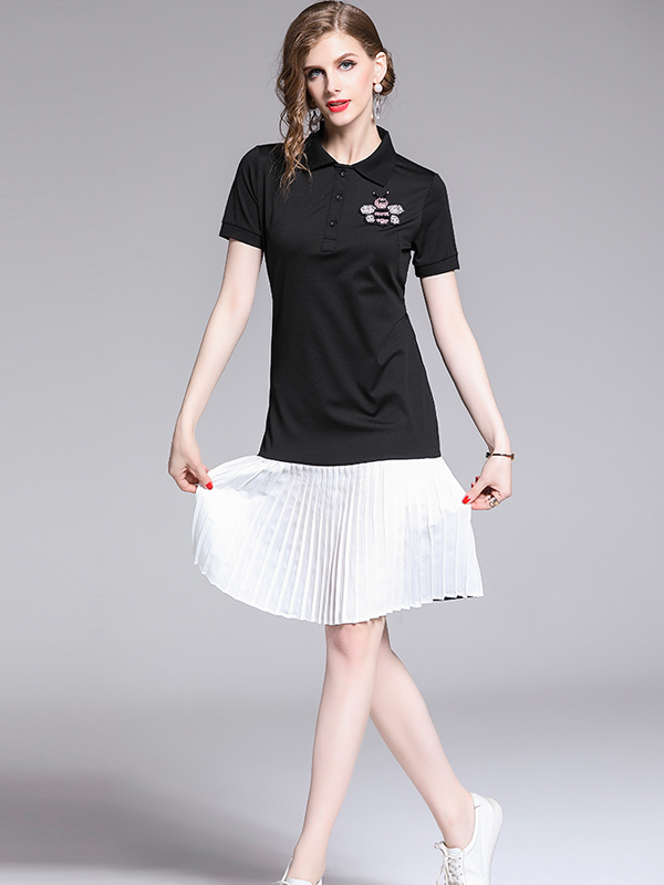 Casual Contrast Color Bee Pleated T-shirt Dress