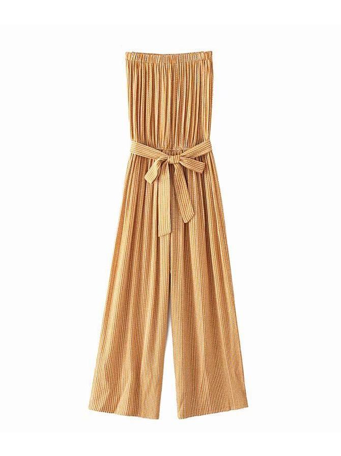 Striped Tie-Wrap Strapless Wide Leg Jumpsuit